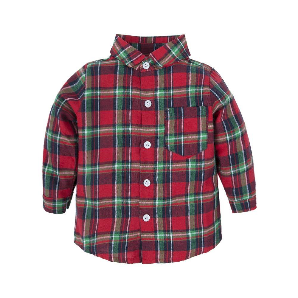 BIG ELEPHANT Baby Boys 1 Pieces Long Sleeve Dresses Shirt Top Shirt V07