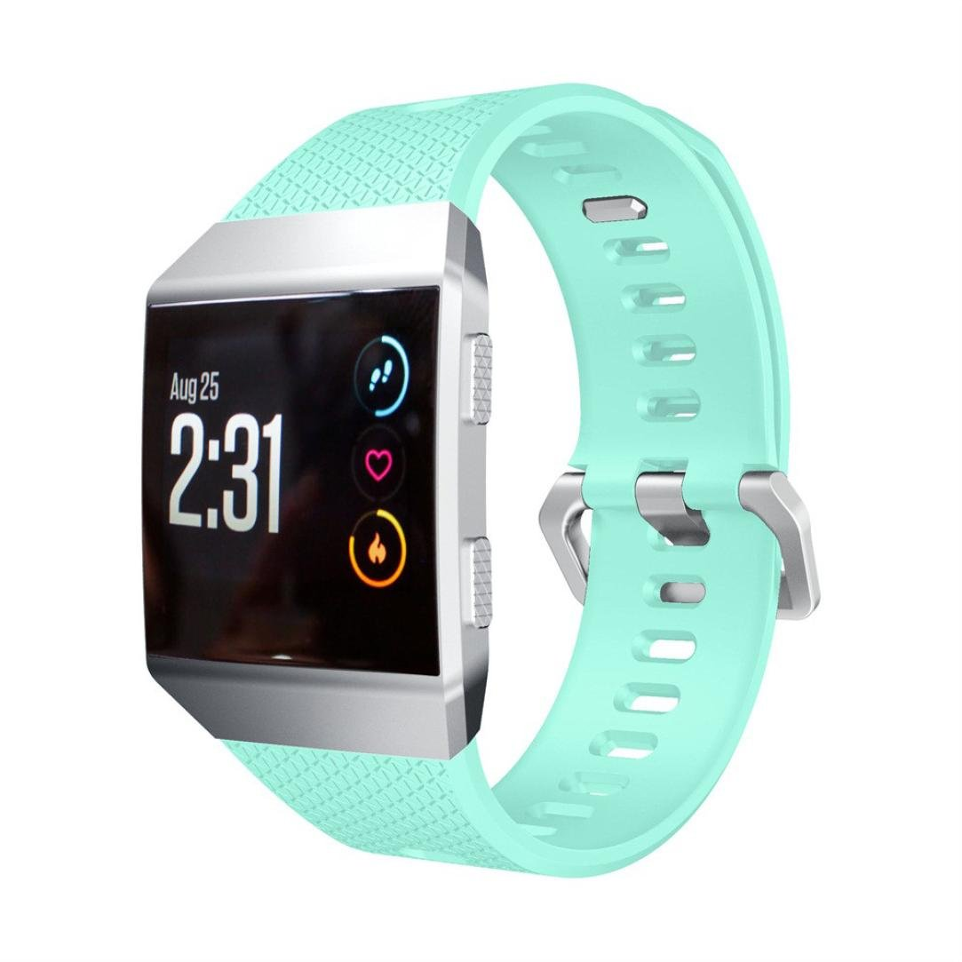 For Fitbit Ionic Bands, Gotd Silicone Strap WristBand Sports Fitness Replacement Band For Fitbit Ionic, Small Large Women Men, 6.7''-8.1'' (Mint Green)