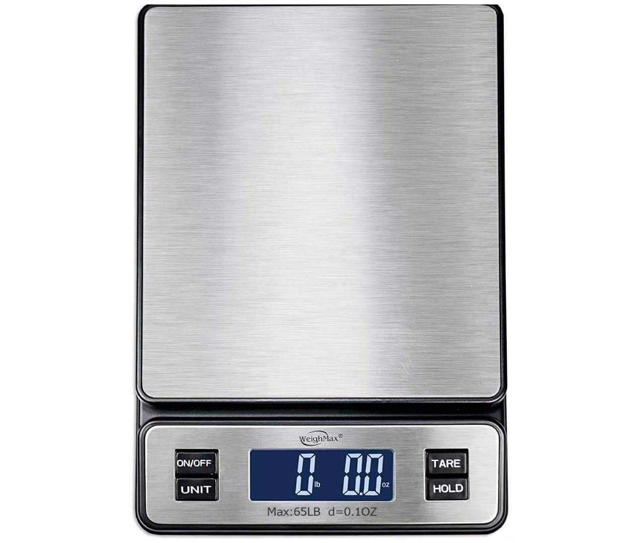 Weighmax W-2809 65 LB X 0.1 OZ Durable Stainless Steel Digital Postal Scale, Shipping Scale with AC Adapter