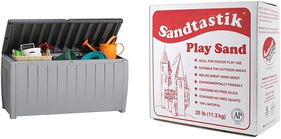 Keter Novel 90 Gallon Resin Deck Box-Organization and Storage for Patio Furniture Outdoor Cushions, Throw Pillows, Grey/Black & Sandtastik Sparkling White Play Sand, 25 Pounds