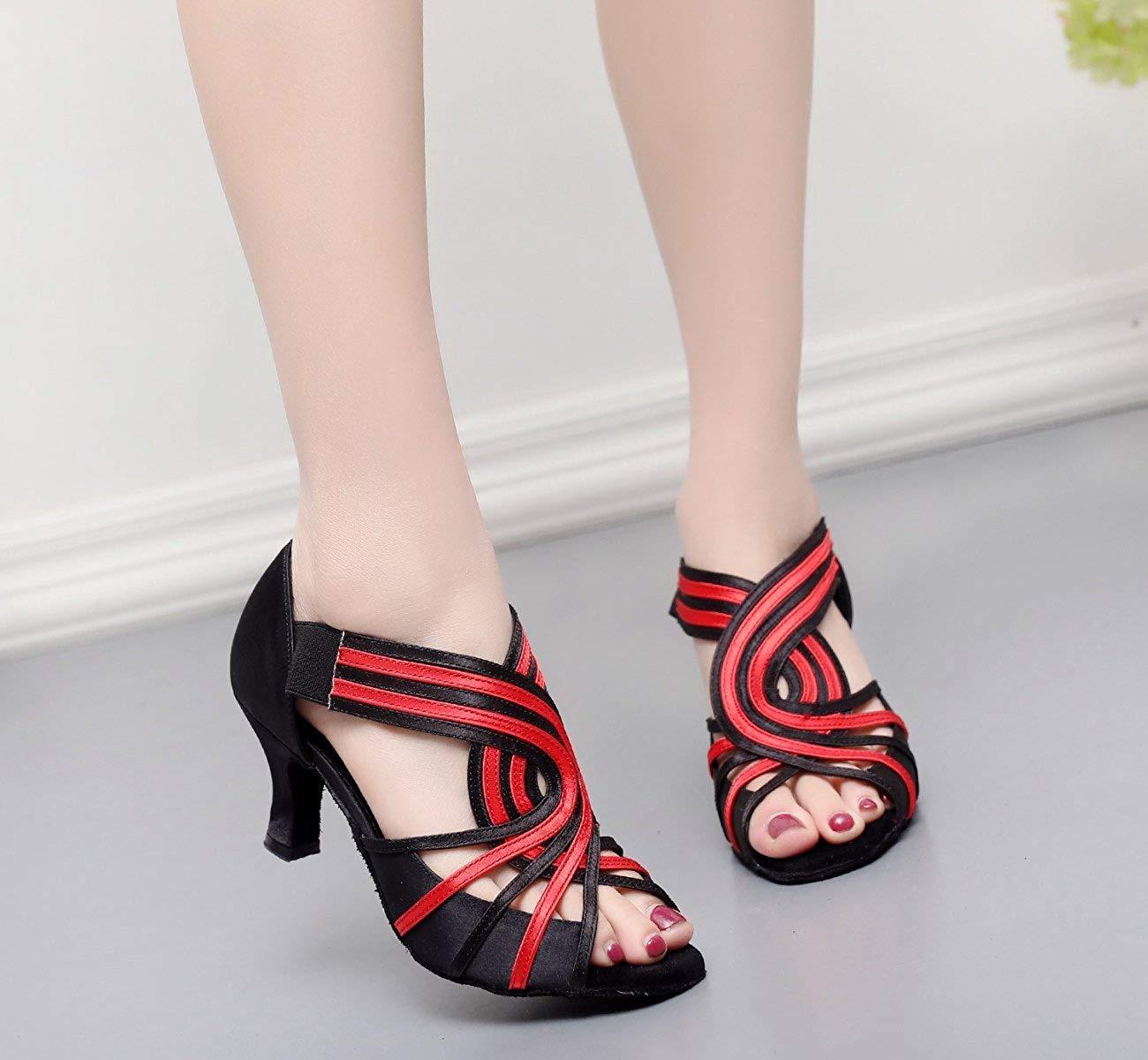 Yingsssq Damen Kristalle Latin Sparking Satin Latin Kristalle Salsa Tanzschuhe Tango Chacha Samba Modern Jazz Schuhe Sandalen High Heels Rot-Absatz 6cm-DE3.5   EU34   Our35 f36f31
