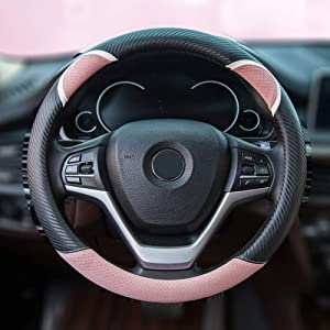 Alusbell Cute Carbon Fiber Steering Wheel Cover Synthetic Leather Auto Car Steering Wheel Cover for Women Universal Fit 15 Inch (Pink)