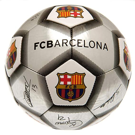 FC Barcelona - Balón plateado con firmas (Talla Única) (Plata ...