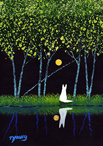 WHITE German Shepherd Dog LARGE Art PRINT by Todd Young STILL WATER FOREST