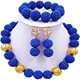 aczuv Simulated Pearl Beaded Necklace African Beads Jewelry Set for Women Nigerian Wedding Jewelry Sets