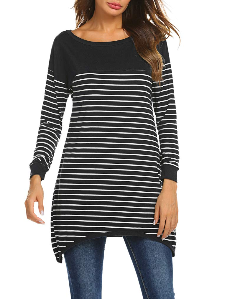 Qearal Womens Long Sleeve Striped Tunic Shirt Loose Fit Pullover Blouses Tops Black L