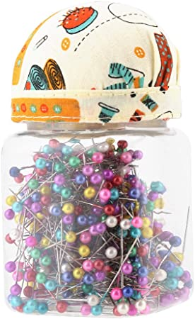 Dressmaking Pins DIY Projects Ball Head Pins in Orange Fabric Covered Assorted Colors 500Pcs Flower Head Sewing Pins