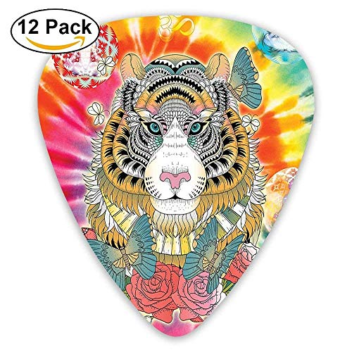 Tiger Head With Ornaments Butterflies And Roses Human Figures Lotus Position Globes Guitar Picks ()