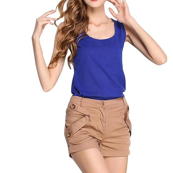 Mujeres Tops Rovinci Verano sin Mangas Color Puro Chaleco Gasa Tops Camiseta Blusa Cuello en O