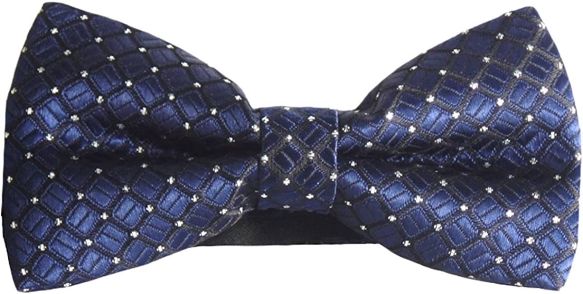 New Men/'s Pre-tied Bow Tie /& Hankie set Black Blue Dots Wedding Prom formal