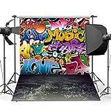 Dudaacvt Photography Backdrop, 10x10 ft Hip Hop Graffiti Style Backdrop Vintage Cement Floor Background For Studio Props Q0121010
