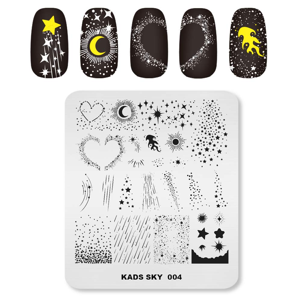 KADS Nail Art Stamping Plates Set Image Template Stencils Pattern with Stamping Plates Holder Case Organizer (SK004)