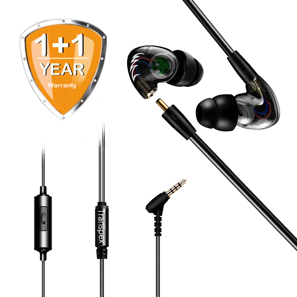 Earbuds Transpex F1 Pro Detachable Dynamic Drivers In Ear Earphones Tangled Free Wired 3.5mm Golden Plated Plug Noise Isolating With Mic Stereo Bass Sweatproof For Sports, iPhone X/8/8 plus Android