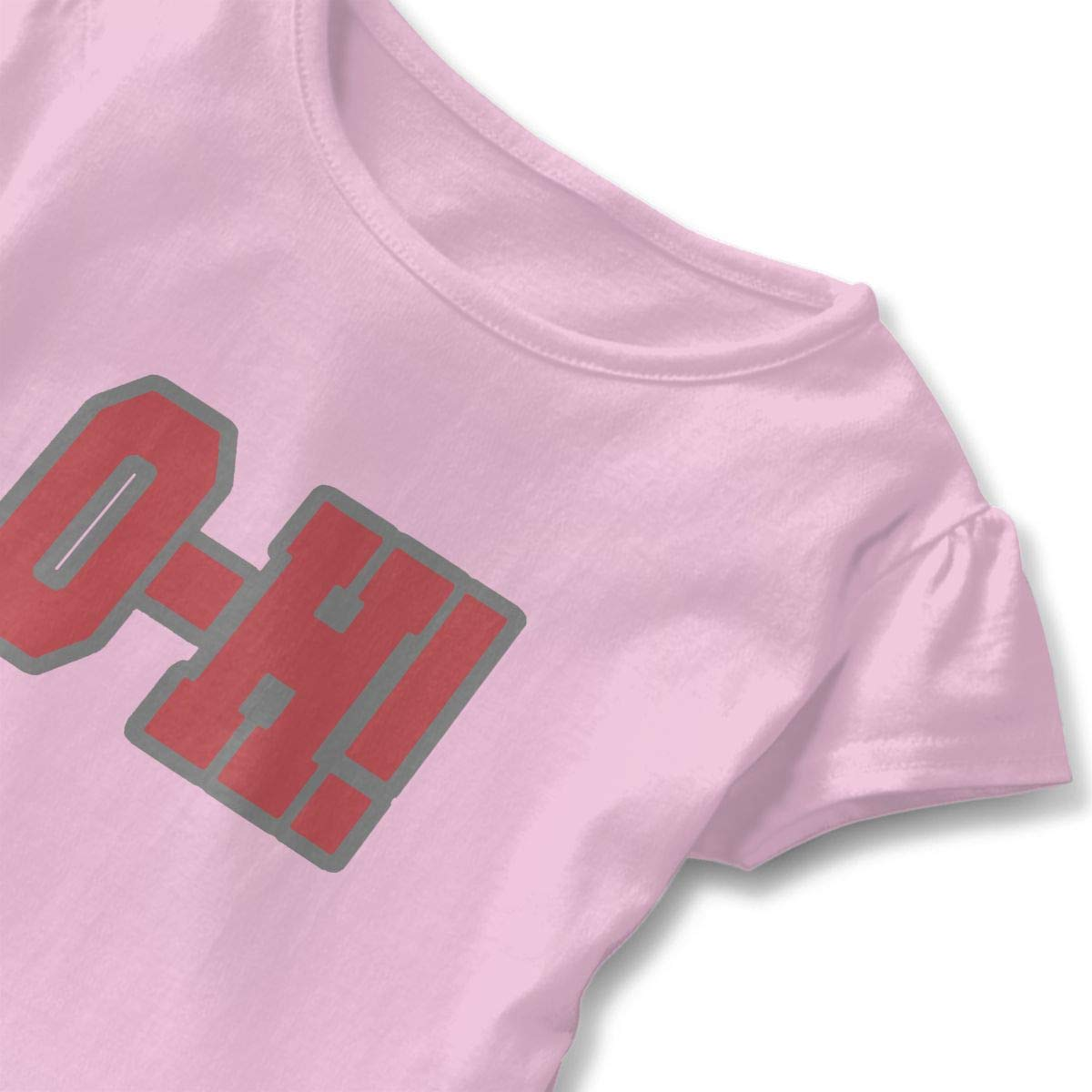 Cute Adorable Printed Patterns Basic Ruffle Tee Shirts with Short Sleeves and O-Neck for Daily Party School Outside Playing Pink O-h