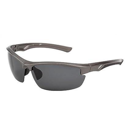Gafas de Sol Deportes Polarizadas Sin Borde para Mujer Hombre Béisbol Ciclismo Correa Conducir Pesca Golf Excursionismo UV400(Mate Negro/Polarizado ...