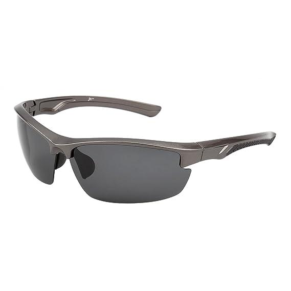 Gafas de Sol Deportes Polarizadas Sin Borde para Mujer Hombre Béisbol Ciclismo Correa Conducir Pesca Golf Excursionismo UV400(Mate Negro/ Polarizado Marrón): ...