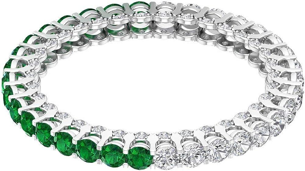 Anillo de eternidad de 3/4 ct certificado de 2 mm de esmeralda, diamante antiguo de oro alternado, anillo de boda único con piedras preciosas, 10K Oro