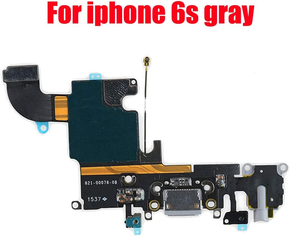 """Afeax Compatible with OEM Original USB Charging Port Dock Connector Flex Cable + Microphone + Headphone Audio Jack Replacement Part for iPhone 6S 4.7"""" Gray"""