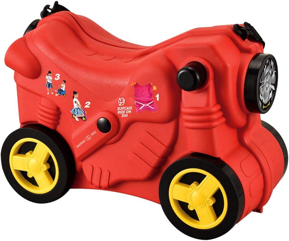 Macallen Kinder Koffer Kinderkoffer zum Draufsitzen und Ziehen Trolley Motorradmodell Fuer Maedchen Jungen Handgepaeck Reisekoffer Sitzkoffer Draufsitzen Kids Suitcase 47 x 21 x 34 Zentimeter Blau