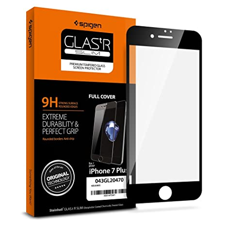 new concept 7da10 4ae09 Spigen Full Coverage Tempered Glass Screen Protector Designed for iPhone 7  Plus/iPhone 8 Plus (2017) - Black 043GL20470