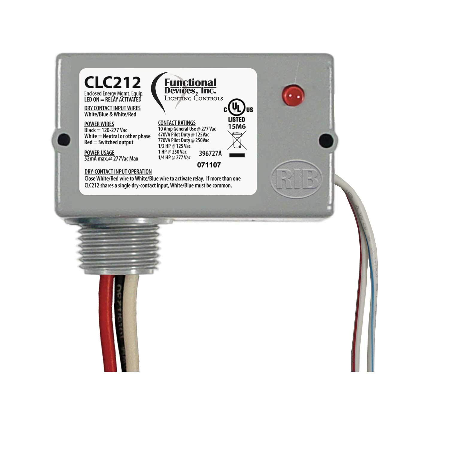 Functional Devices CLC212 Closet Light Controller Relay, 10 Amp SPST-N/O, Separated Class 2 Dry Contact Input, 120-277 Vac Power, NEMA 1 Housing
