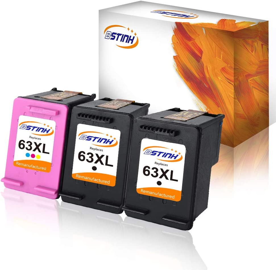 BSTINK Remanufactured for HP 63XL 63 XL Ink Cartridge High Yield, Use in HP Envy 4520 4516 Officejet 4650 3830 3831 3833 4655 Deskjet 1112 3630 3632 3633 3636 3637 Ink Level Display, 2Black 1TriColor