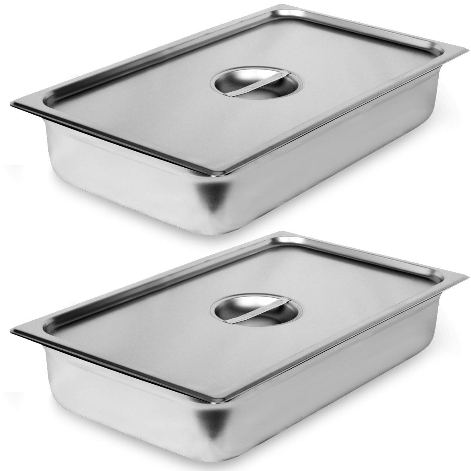 """2 Pack Steam Table Pan Full Size with Cover, Hotel Pan is 4"""" Deep, Made from 25 Gauge Stainless Steel, NSF Listed."""