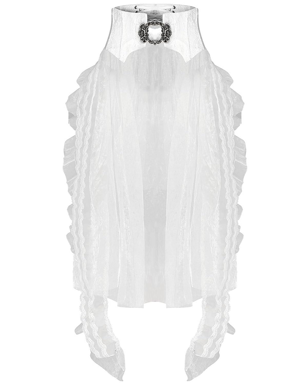 Punk Rave Corset Skirt White Gothic Train Belt Swallowtail Bustle Lace Wedding