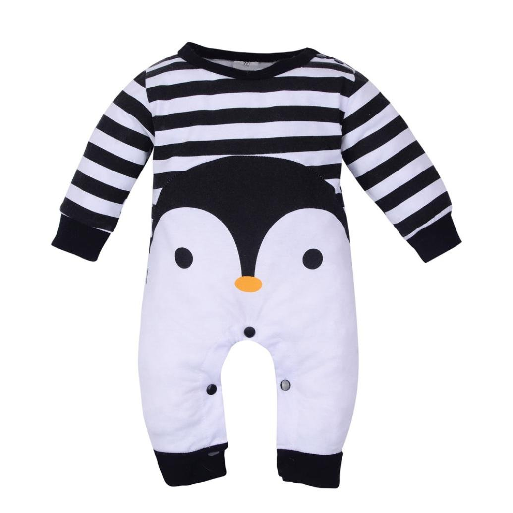 CHshe Baby Cartoon Penguin Pattern Striped Stitching Rompers Newborn Infant Toddler Stylish Pajama Enlightened Jumpsuit (12 months)