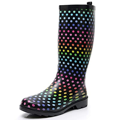 SOLARRAIN Women's Tall Rubber Rain Boots for Ladies Wide Calf Waterproof Anti Slip Garden Shoes Durable Insulated Snow Galoshes | Rain Footwear