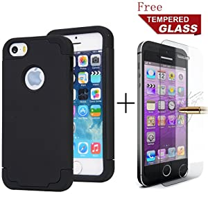 iPhone 5S case, GreenElec [Free Tempered Glass], Hybrid Dual Layer Fit Slim Cover with Soft Interior Silicone Bumper Hard Shell PC Back Shockproof Anti-Scratch for iPhone 5 / 5S / SE (Black)