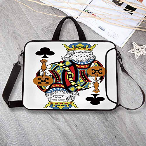 King Large Capacity Neoprene Laptop Bag,King of Clubs Playing Gambling Poker Card Game Leisure Theme Without Frame Artwork Laptop Bag for 10 Inch to 17 Inch Laptop,17.3