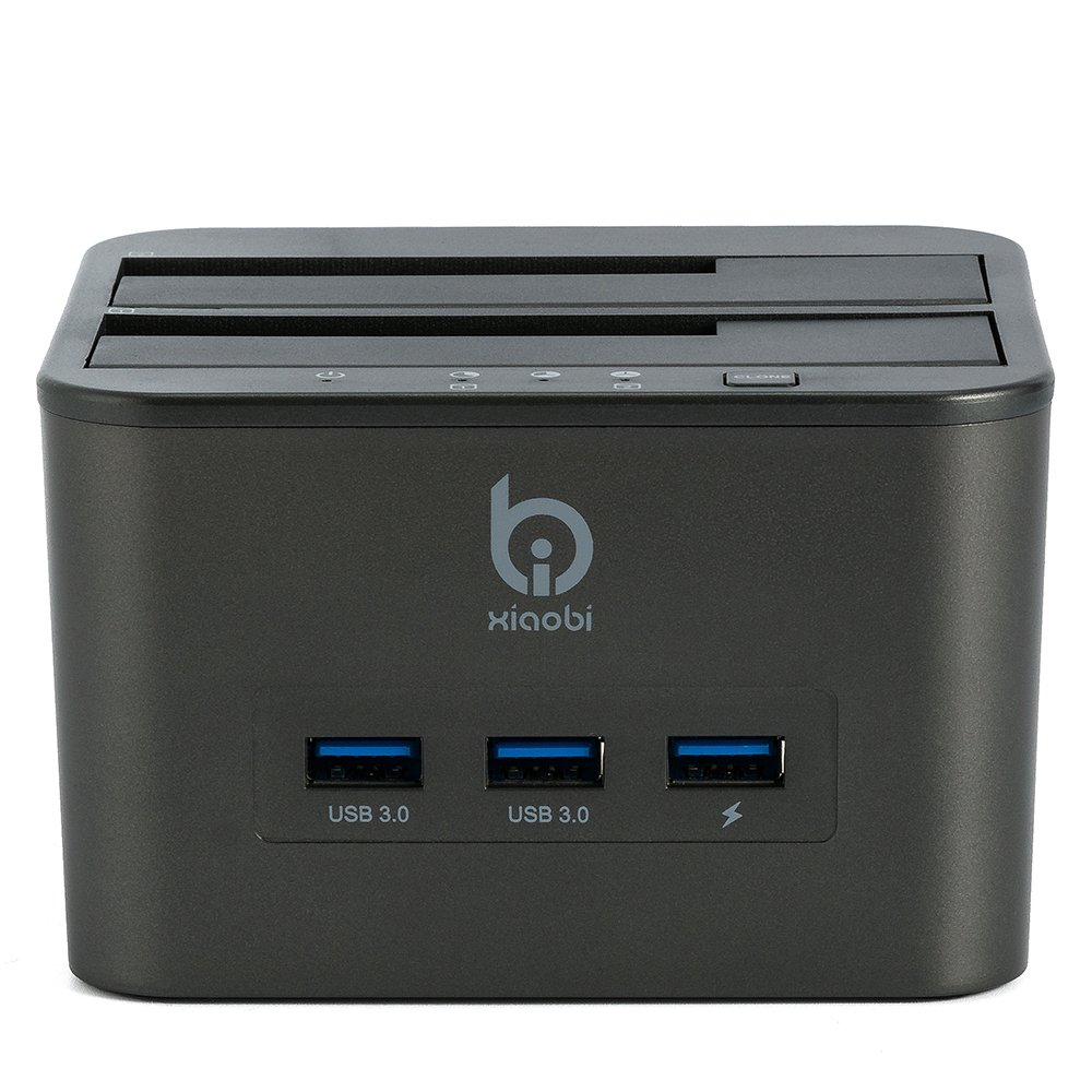 Xiaobi USB3.0 Dual Bay HDD 4-in-1 Docking Station with Offline Clone Function for 2.5 Inch & 3.5 Inch HDD SSD SATA (2 x 8TB)