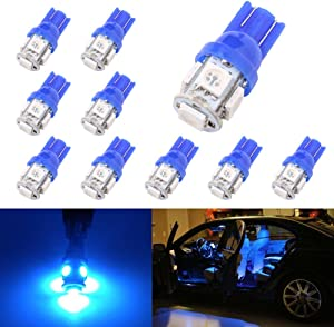 194 T10 W5W 5SMD 5050 Antline 12v LED Light Bulb Blue 2825 158 192 168 for Car/Motor Interior Dome Parking Side Turn Signal Dashboard License Plate Light Bulbs Lamp (pack of 10)