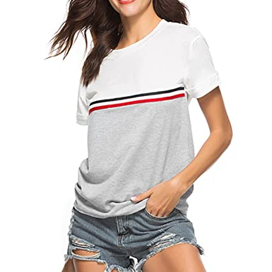 6a3b2ac8f7 vermers Hot Sale Fashion Womens T-Shirt - Tops Stripe O-Neck Short Sleeve