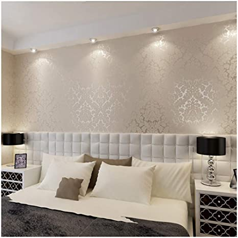 Qihang European Vintage Luxury Damask Wall Paper Pvc Embossed Textured Wallpaper Roll Home Decoration Cream White Color Wallpaper 0 53m10m 5 3