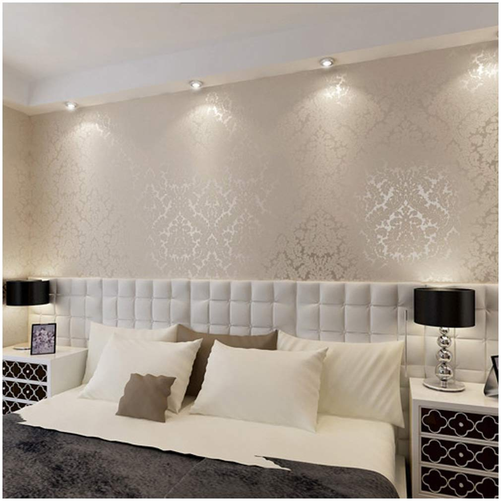 QIHANG European Vintage Luxury Damask Wall Paper PVC Embossed Textured Wallpaper Roll Home Decoration Cream-white Color wallpaper 0.53m10m=5.3㎡