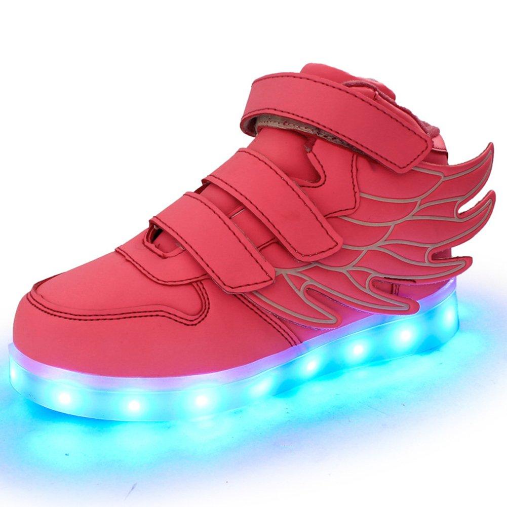 Fortuning's JDS® Unisex LED Beleuchtete Blinkende Turnschuhe USB Aufladen Leuchtende Schuhe Spinnen Schuhe mit Flügeln nZsc6H