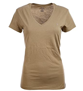 e421d62095dd Ralph Lauren Polo Damen V-Neck Shirt T-Shirt Oliv Größe L  Amazon.de ...