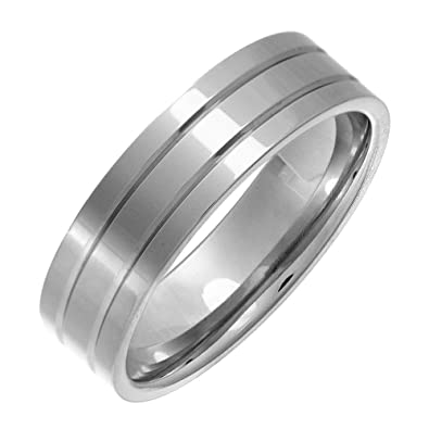 Theia Titanium Flat Court Matt Grooved 6 mm Ring 6q7sXaiwk5