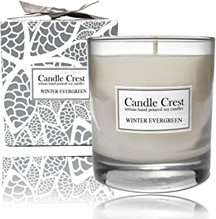 product image for Candle Crest Soy Candles - Winter Evergreen 8oz Scented Soy Candle. Made in The USA - Spa Candle Gift Set