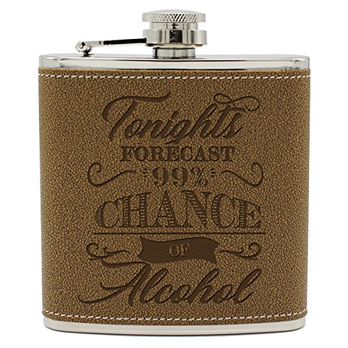 My Personal Memories Fun Novelty Liquor Flasks for Men, Women, Friends - Hidden Hip Alcohol Flask with Funny Sayings for Him, Her (Brown Flask Only, Forecast Style)