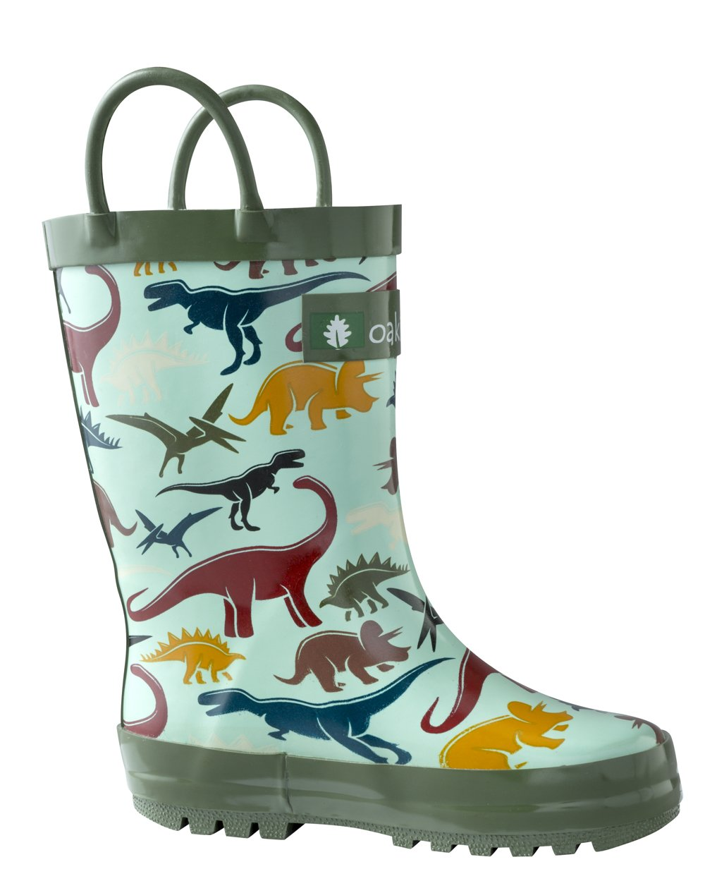 OAKI Kids Rubber Rain Boots with Easy-On Handles, Earthy Dino, 6T US Toddler