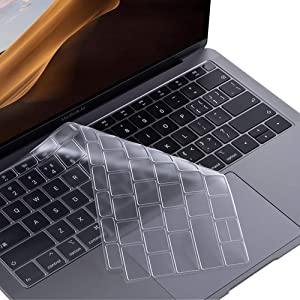 ProElife Premium Ultra Thin TPU Keyboard Cover Skin for MacBook Air 13-Inch 2018 2019 with Touch ID Retina Display (Model: A1932, NOT FIT Air 2020) Keyboard Accessories Protector (Transparent Clear)
