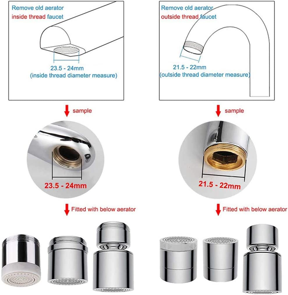 Dual-Function 2 Sprayer-Rotation Large-Angle Rotating Faucet Faucet Aerator 360-degree Rotating Head Faucet Aerator for23.5-24mm Internal Thread 23.5-24mm Internal Thread Sink Aerator