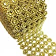 "LolaSaturdays 4""x 30FT Diamond Rhinestone Ribbon Wrap Roll- Cake and party decoration (flower, gold)"