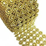 LolaSaturdays 4''x 30FT Diamond Rhinestone Ribbon Wrap Roll- Cake and party decoration (flower, gold)