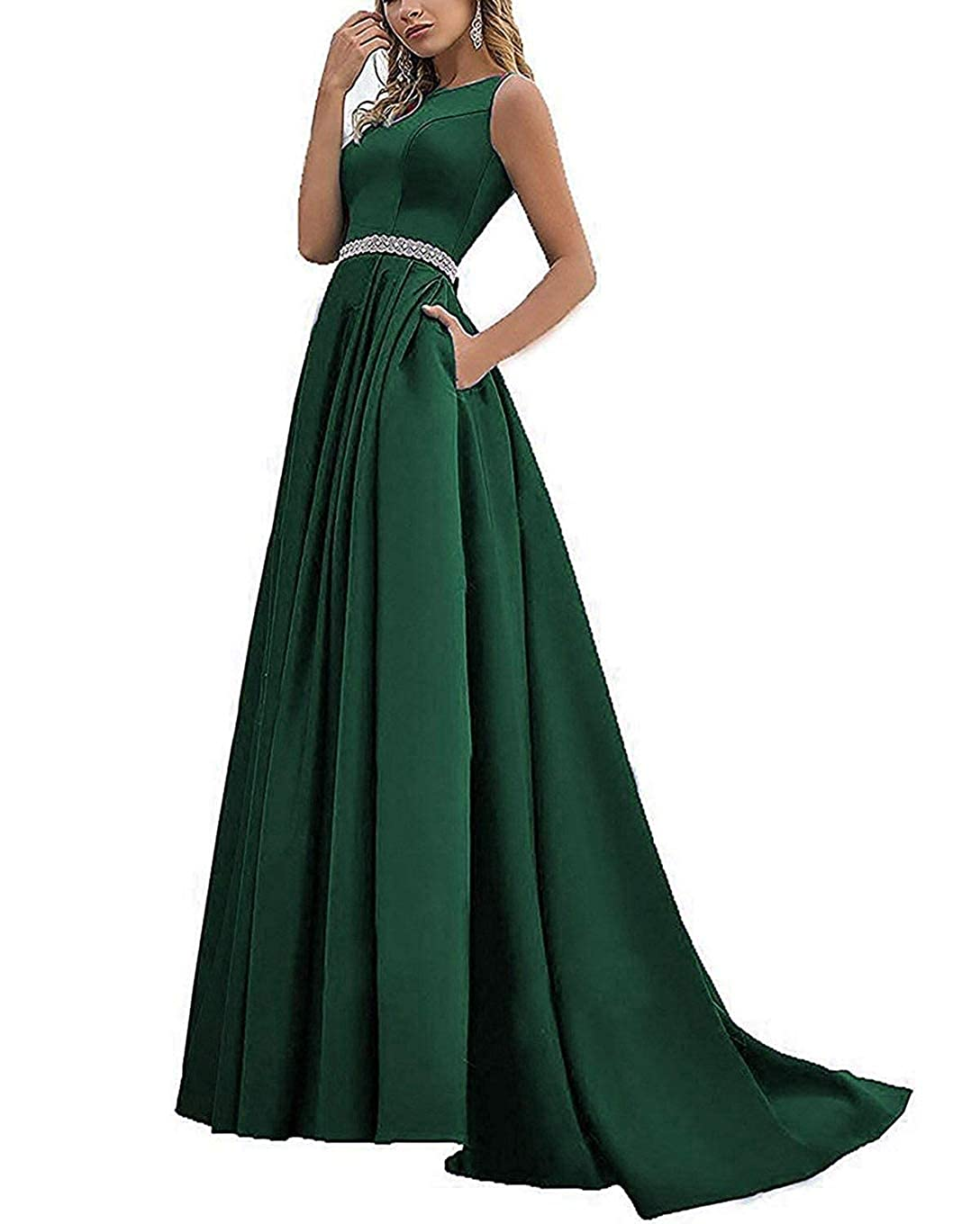 Dark Green Beaded Satin Prom Dresses Long with Pockets Jewel Neckline Princess Ball Gown