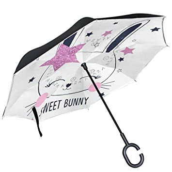 ALAZA Bunny Girl Rosa con purpurina Star en blanco Paraguas invertido doble capa resistente al viento
