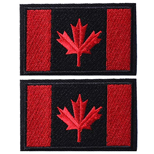 SHELCUP 2 Pcs Canada Flag Patches, Tactical Tags Morale National Emblem Patch for Backpack, Hats, Jackets, Team Uniform, Black&Red